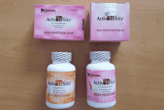 Active White L Glutathione Skin Whitening Night Cream Capsules Vitamin C and Soap Combo