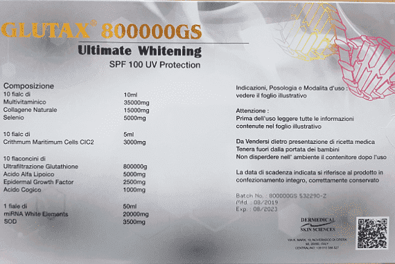Glutax 800000GS Ultimate Whitening SPF 100 UV Protection